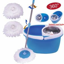 360° Rotating Stainless Steel 2 Heads Magic Mop Dehydrate Basket Blue