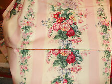 "RALPH LAUREN FABRIC- ""PINK & WHITE STRIPE & ROSES-54"" X 112""  COTTON 3+ YARDS"