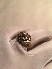Hand Made Antique Vintage Genuine Color CZ Size 7 Brass Ring