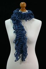 Petrol Blue Hand Knitted Long Scarf Made In Cotton And Acrylic Blend.