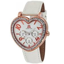 NIB JLo Jennifer Lopez Rose Gold Tone Heart White Leather Ladies Watch FREE SHIP