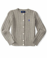 POLO RALPH LAUREN GIRLS 100% COTTON GREY CARDIGAN SWEATER SIZE 3/3T
