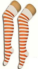 Over The Knee Orange And White Stripy Stripey Socks Sox Striped Thigh High New