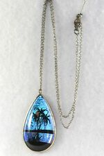 VINTAGE  STERLING SILVER BUTTERFLY WING TROPICAL NECKLACE