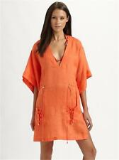 DVF Diane Von Furstenberg SPORTY LINEN KLEIO Cover Up Dress Tango P XS 0 2 $185