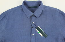 Men's PERRY ELLIS Gray Blue Pure Linen Shirt XXL 2XL NWT NEW Awesome!