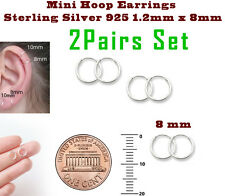 Mini Hoop Earrings Sterling Silver 925 1.2mm x 8mm 2 Pairs Set Super Small