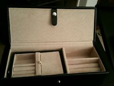 Black Leather Jewelry Travel Case Anti Tarnish Lined Red Envelope Co NEW $139