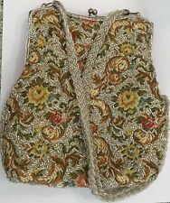 Vintage 50s Walborg Purse Gold Tapestry Hand Bag Embroidered Flower Beaded