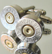 45 AUTO WINCHESTER Bullet Cufflinks Gold Silver Nickel Camo Wedding Dress Gift