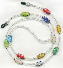 Artsy~Funky~Bumpy COLORFUL Beaded Eyeglass~Glasses Holder Necklace Leash Chain