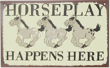 Horse Play Here FUNNY TIN SIGN ranch barn farm bar wall home game room decor OHW