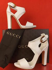 NIB GUCCI NADEGE OFF WHITE LEATHER STIRRUP BAMBOO BUCKLE SANDALS PUMPS 41 $800