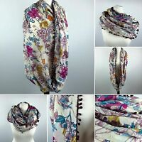 FLORAL Print Snood   Infinity Endless Cream SCARF Womens Purple Shawl   NEXT DAY