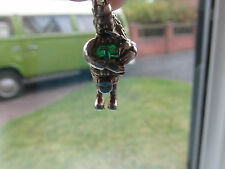 ULTRA RARE NUVO VINTAGE SILVER BRACELET CHARM SCOTSMAN PLAYING BAGPIPES GREEN