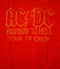 AC/DC cd lgo HIGHWAY TO HELL '78 TOUR CREW Official Red SHIRT LRG new