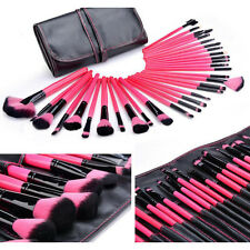 PRO Rose Red 32PCS Superior Soft Cosmetic Makeup Brush Set Kit Eye Lip Pouch Bag