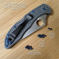Spyderco Delica 4 Custom Titanium 7pc BLUE Anodized Torx T6 Screws Set  NO KNIFE