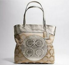 NWT Coach 15013 Julia Op Art Signature Khaki Gold Leather Shoulder Bag Tote