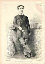 Alfonso XII King of Spain Espana Espagne ANTIQUE PRINT GRAVURE 1875