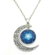 Vintage Witch Cabochon Silver plated chain necklace pendants Moon pendant