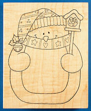 Large Snowman Rubber Stamp by Darcie's - Gift Tag or Invitation - Christmas