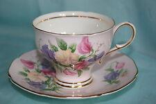 Gorgeous Vint Paragon bone china corset shaped cup saucer set-Pink w/ Pansies