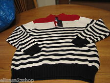 Boys L 16/18 youth stripe Tommy Hilfiger sweater long sleeve navy red off white