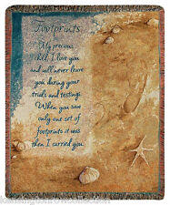 """THROWS - """" FOOTPRINTS"""" TAPESTRY THROW BLANKET - INSPIRATIONAL"""