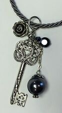 NEW ROPE NECKLACE BLACK FAUX PEARL ROSE LARGE SILVER SKELETON HEART KEY PENDANT