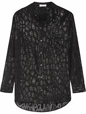 Equipment Daddy Metallic Leopard Print Silk Shirt Blouse in Black Size Small S
