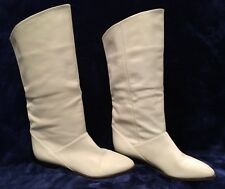 MISTER SHOE Vintage Fashion White Leather Woman Boots Size 7.5 Made in Argentina