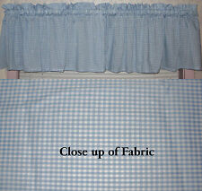 New Blue White Gingham Checkered Check Valance Curtain Country Kitchen