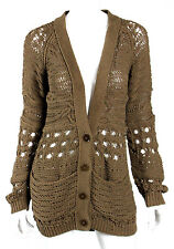 STELLA McCARTNEY Brown Chunky Crochet Knit Long Cardigan Sweater 38