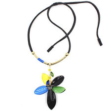 MARNI FOR H&M ELEGANT BLUE/BLACK/GREEN/YELLOW FLOWER FAUX LEATHER NECKLACE