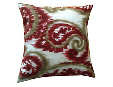 THROW PILLOW SHAM / COVER 18X18 RED TAUPE OFF WHITE LARGE PAISLEY