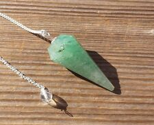NATURAL GREEN AVENTURINE STONE GEMSTONE FACETED PENDULUM