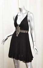 JUST CAVALLI Womens Black Silk Pleated Sleeveless Skater Mini Dress 44/8/M