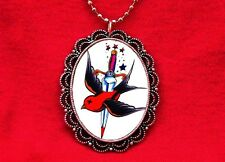 DEAD SWALLOW TATTOO DAGGER PENDANT NECKLACE ROCKABILLY