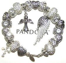 Authentic Pandora Silver Bracelet GUARDIAN ANGEL WIFE WHITE with European Charms