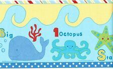TROPICAL FISH Under the sea Wallpaper Border Ocean Blue Kids room Wall Decor