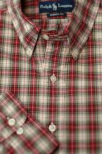 Polo Ralph Lauren Men's REd & Beige Tartan Plaid Cotton Casual Shirt XXL 2XL