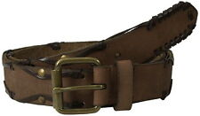 NEW John Varvatos Leather Belt in Chocolate with Harness Buckle Size 40
