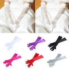 Ladies Long Satin Fingerless Costume Bridal Evening Party Wedding Gloves Silver