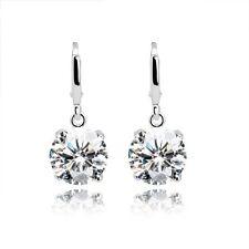 18CT or blanc finition faux diamant classique boucle d'oreille nuptiale bal cadeau ton argent