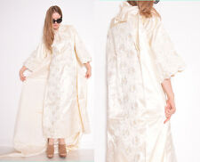 vintage 60s 70s cream satin lace sequin bell sleeve wedding gown maxi dress S M