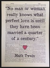 Love Quote Print Vintage Dictionary Page Wall Art Picture Mark Twain Marriage