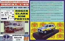 ANEXO DECAL 1/43 FORD ESCORT RS 1800 MK II ROTHMANS R.CLARK ACROPOLIS 1979 (01)