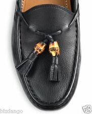 NEW   Men's Gucci Black Leather 'Hebron' Bamboo Tassel Driving Loafers