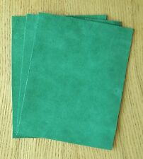 SUEDE LEATHER PIECES 3 @ 20CM X 15CM EMERALD-GREEN 1.4 mm THICK SOFT FEEL